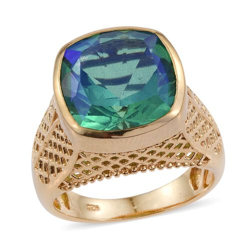 Peacock Quartz (Cush) Ring in 14K Gold Overlay Sterling Silver 10.250 Ct.