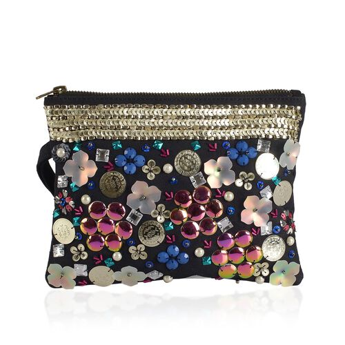 NEW SEASON Sequins Studded Floral Pattern Black Colour Clutch (Size 21X16 Cm)