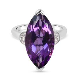 Platinum Overlay Main Stone With Side Stone Ring  5.150  Ct.