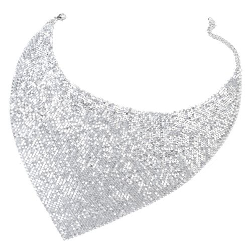 Glittering Silver Collar Necklace (Size 20 and 3.5 inch Extender) and Hook Earrings in Silver Tone