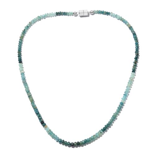 Extremely Rare Grandidierite Necklace (Size 18) with Magnetic Lock in Platinum Overlay Sterling Silv