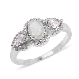 Simulated Mint Green Tourmaline (Ovl), Simulated Diamond Ring in Rhodium Overlay Sterling Silver