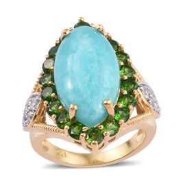 Natural Peruvian Amazonite (Mrq 7.050 Ct), Russian Diopside and Natural Cambodian Zircon Ring in 14K