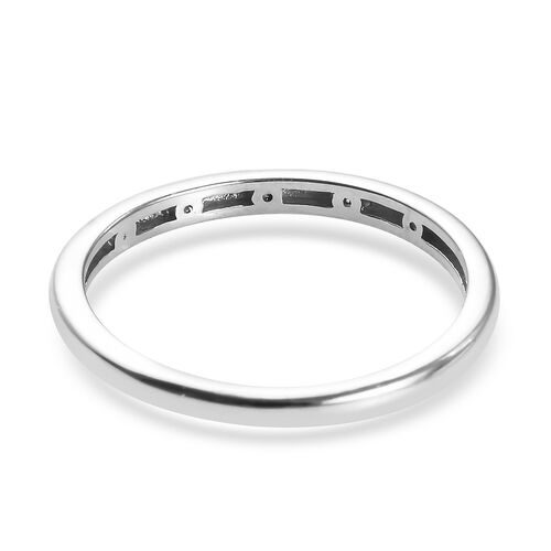 Diamond stackable Band Ring in Platinum Overlay Sterling Silver 0.05 Ct.