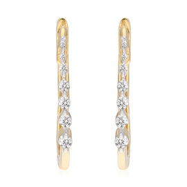 9K Yellow Gold SGL Certified Diamond (I3/G-H) Earrings (with Clasp Lock)  0.25 Ct.