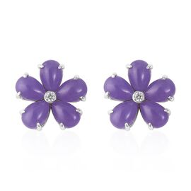 Purple Jade (Pear), Natural White Cambodian Zircon Floral Stud Earrings (With Push Back) in Rhodium