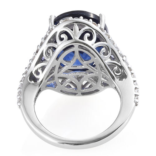 Ceylon Colour Quartz (Ovl 10.20 Ct), Natural White Cambodian Zircon and Tanzanite Ring in Platinum Overlay Sterling Silver 11.250 Ct, Silver wt  5.04 Gms.