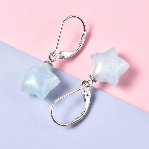 Aquamarine Star Drop Lever Back Earrings in Rhodium Overlay Sterling Silver 13.00 Ct.