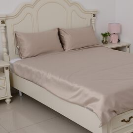 Set of 3 - Luxury Satin Woven Double Size Duvet Cover (Size 200x200 cm) with 2 Pilllow Cases (50x70 cm) in Gold Colour