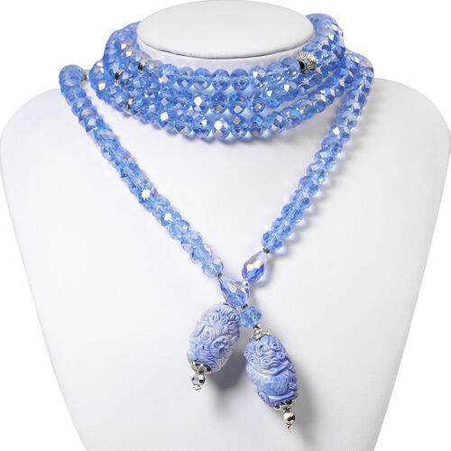 Blue Shell Pearl and Multi Gemstone Necklace (Size 60)