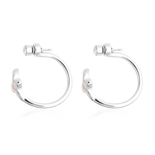 White Shell and White Austrian Crystal Earrings (with Push Back) in Rhodium Plated