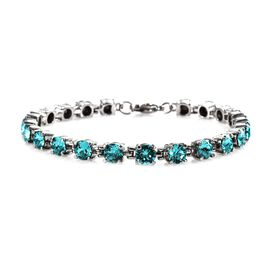 J Francis - Crystal from Swarovski Light Turquoise Crystal (Rnd) Bracelet (Size 7.5) in Stainless St