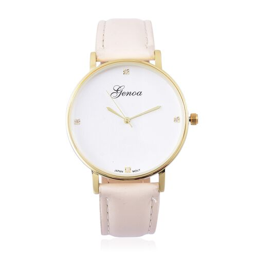 GENOA Diamond Studded Dial Watch with Cream Colour Strap