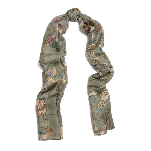 100% Mulberry Silk Dark Grey, Purple and Multi Colour Flower and Birds Pattern Scarf (Size 180x90 Cm)