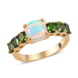 GP 2 Carat Ethiopian Welo Opal and Multi Gemstone Classic Ring in 14K Gold Plated Silver
