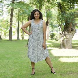 TAMSY 100% Viscose Womens Print Dress (Size:60x105Cm) - White