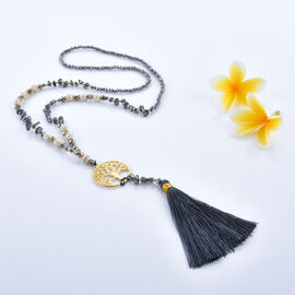 Grey Colour Beaded Tree of life Charm Necklace with Tassel 33 Inch