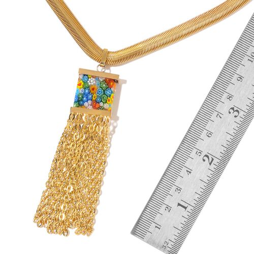 Murano Glass Tassel Necklace (Size 20 with 2 inch Extender) in ION Plated Yellow Gold Stainless Steel