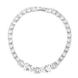 Simulated Diamond Tennis Bracelet in Silver Tone 8 Inch