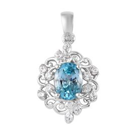 Ratanakiri Blue Zircon and Natural Cambodian Zircon Pendant in Platinum Overlay Sterling Silver 2.25