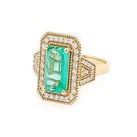 ILIANA 18K Yellow Gold AAA Boyaca Colombian Emerald (Oct 7.78x5.93mm), Diamond (SI/G-H) Ring 2.10 Ct