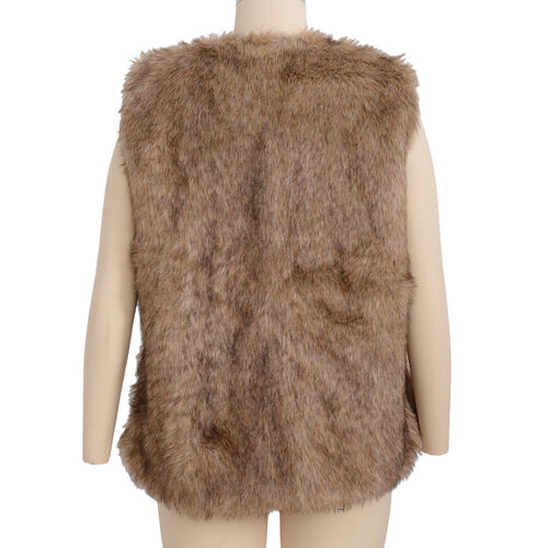 Close Out Deal Luxe Super Soft Helson Faux Fur Brown and Black Colour Gilet (size 10-12 )