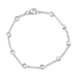 Heart Station Belcher Bracelet in Platinum Plated Sterling Silver 7.5 Inch