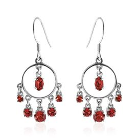 J Francis Crystal from Swarovski - Padparadscha Colour Crystal (Ovl and Rnd) Hook Earrings in Sterling Silver