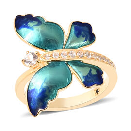 GP Zircon and Blue Sapphire Enamelled Butterfly Ring in Gold Plated Sterling Silver