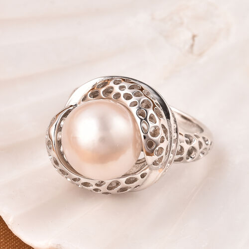Edison Pearl Ring in Rhodium Overlay Sterling Silver