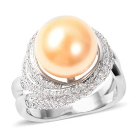 Golden Colour Shell Pearl and Simulated White Diamond Classic Ring in Silver Tone