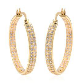 Simulated Diamond Hoop Earrings in Gold Tone