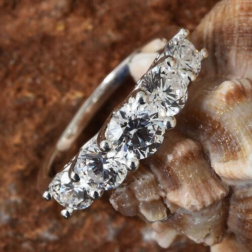 J Francis Sterling Silver (Rnd) Five Stone Ring Made with SWAROVSKI ZIRCONIA