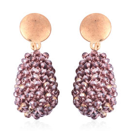 Simulated Kunzite Beaded Drop Earrings (with Push Back) in Yellow Gold Tone