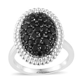Boi Ploi Black Spinel (Rnd) Cluster Ring in Platinum Plated 1.750 Ct.