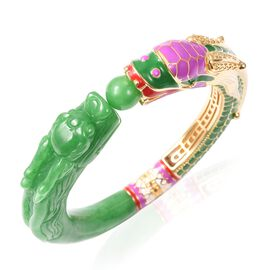 198.50 Ct Green Jade Carved Dragon Bangle in Yellow Gold Plated Silver 38 Grams 7.5 Inch