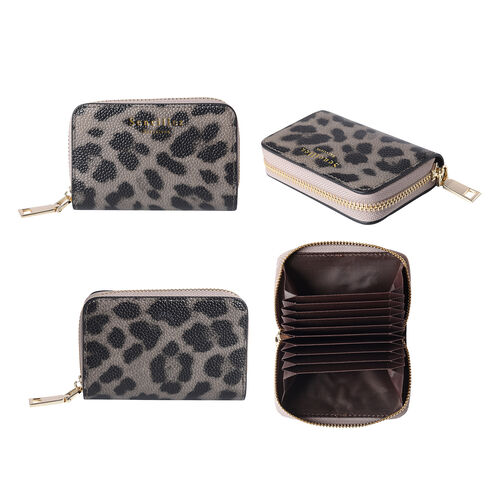 Sencillez - Leopard Print Genuine Leather Clutch Wallet with Card Holder and Zipper Closure (Size 11x2x7cm) - Grey
