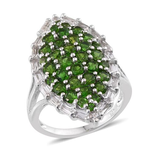 4.25 Ct Russian Diopside and White Topaz Cluster Ring in Platinum Plated Silver