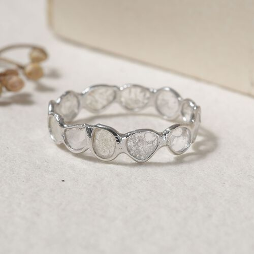 Artisan Crafted Natural Polki Diamond Ring in Platinum Overlay Sterling Silver 0.75 Ct.