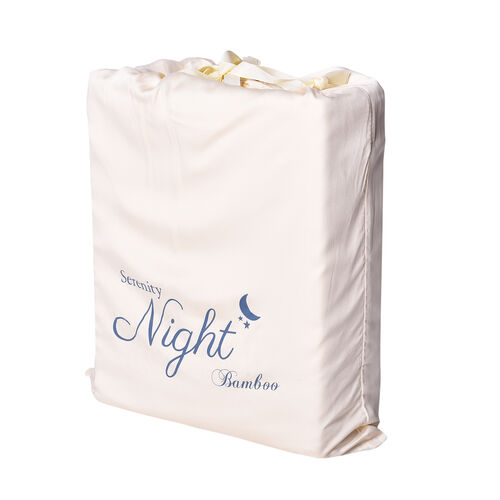 Serenity Night 4 Piece Set - 100% Bamboo Sheet Set Inclds. 1 Flat Sheet (275x265cm), 1 Fitted Sheet (150x200+30cm) & 2 Pillowcases (50x75cm) in Ivory - KING