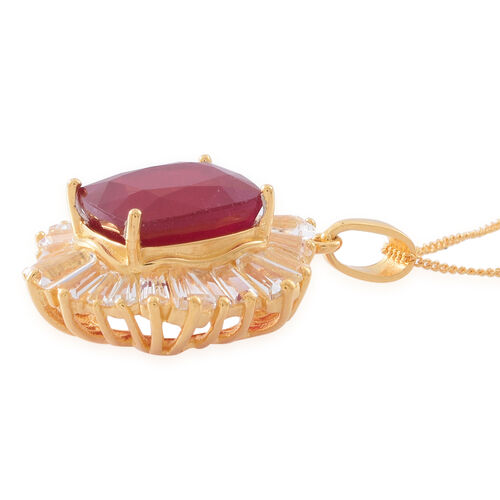 African Ruby (Cush 8.75 Ct), White Topaz Pendant With Chain in 14K Gold Overlay Sterling Silver 14.650 Ct.