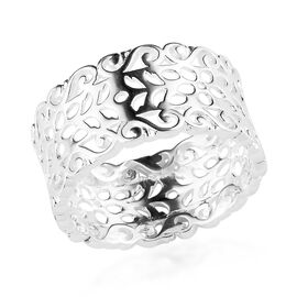 Sterling Silver Filigree Wide Band Ring, Silver wt 3.82 Gms