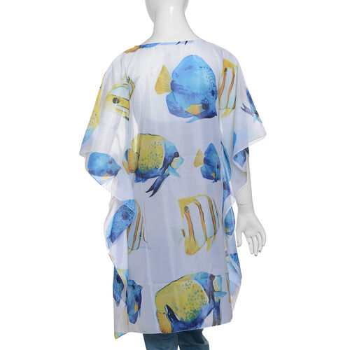 Designer Inspired - Blue, White, Yellow and Multi Colour Fish Pattern kaftan (Size 90x65 Cm)