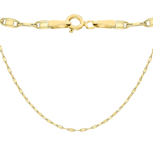 9K Yellow Gold Flat Oval Link Chain (Size 18), Gold wt 3.00 Gms