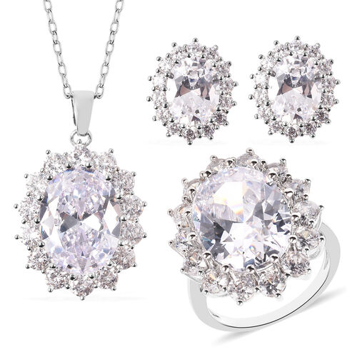 4 Piece Set - Simulated Diamond Ring, Earrings (with Push Back) and Pendant with Chain (Size 20 with