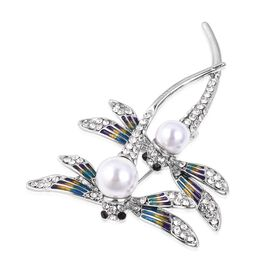 Simulated Pearl, White and Black Austrian Crystal Dragonfly Brooch in Silver Plated