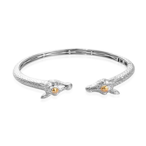 Cuff Bangle in Platinum and Yellow Gold Plated 7.5 Inch