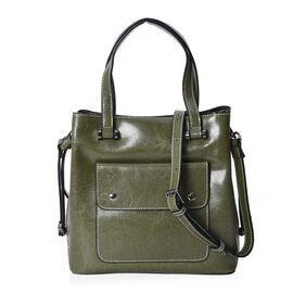 100% Genuine Leather Tote Bag with Removable Shoulder Strap (Size 26x10x26 Cm) - Green