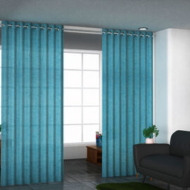 Set of 2 - 100%Cotton Textured Slub Curtain with Eyelets - Cobalt Blue