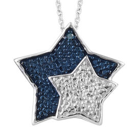 White and Blue Diamond (Rnd) Star Pendant with Chain (Size 20) in Platinum and Blue Overlay Sterling Silver